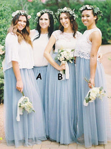 Simple Two Styles Round Neck Long Tulle Bridesmaid Dresses