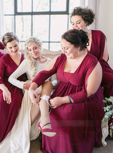 Burgundy V Neck Long Sleeves Chiffon Plus Size Bridesmaid Dresses - NICEOO