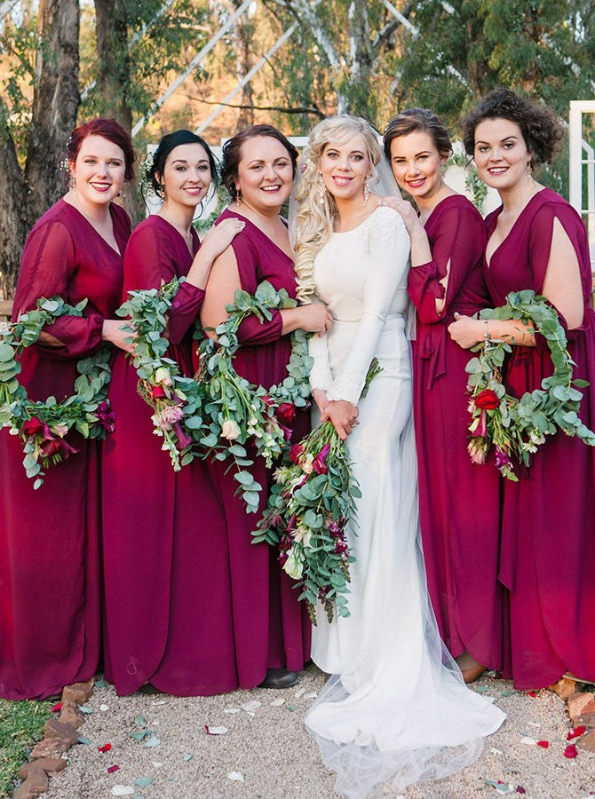 Burgundy V Neck Long Sleeves Chiffon Plus Size Bridesmaid Dresses