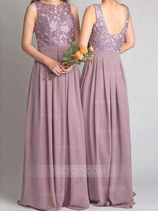 Lilac Round Neck Sleeveless Backless Chiffon Bridesmaid Dresses