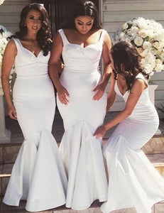 Simple White Strap Sweetheart Slim Line Satin Bridesmaid Dresses