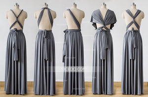 Dark Gray Convertible Bridesmaid Dresses,Infinity Dresses, Multiway Wrap Dresses - NICEOO