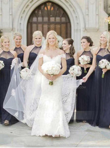 Navy Blue A Line Halter Sweetheart Chiffon Bridesmaid Dresses - NICEOO