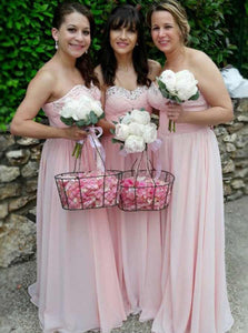 Pink A Line Sweetheart Long Chiffon Bridesmaid Dresses With Rhinestones - NICEOO