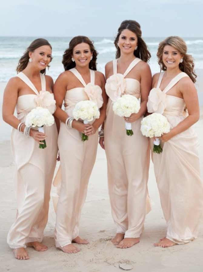 Simple Light Pink Halter Long Satin Bridesmaid Dresses With Flower