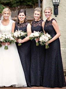Simple Black Round Neck Sleeveless Long Lace Bridesmaid Dresses