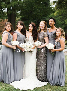 Simple Gray V Neck Sleeveless Long Chiffon Bridesmaid Dresses