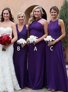 Purple Three Styles Sleeveless Long Satin Bridesmaid Dresses