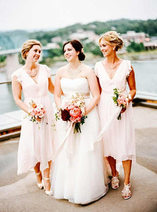 Simple V Neck Cap Sleeves Tea Length Bridesmaid Dresses