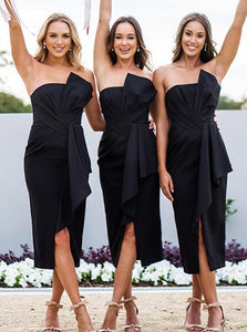 Black Slim Line Front Split Tea Length Satin Bridesmaid Dresses - NICEOO