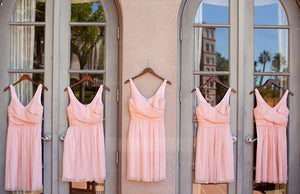 Pink V Neck Strap A Line V Back Chiffon Short Bridesmaid Dresses