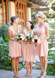 Pink V Neck Strap A Line V Back Chiffon Short Bridesmaid Dresses - NICEOO