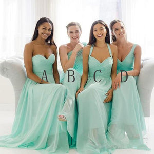 Fashion Mint Four Styles Sweetheart Empire Waist Chiffon Bridesmaid Dresses Evening Dresses - NICEOO