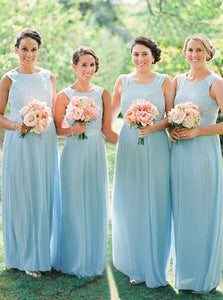 Blue Round Neck Sleeveless V Back Long Bridesmaid Dresses