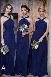 Fashion Chiffon Bridesmaid Dresses with Halter Neckline