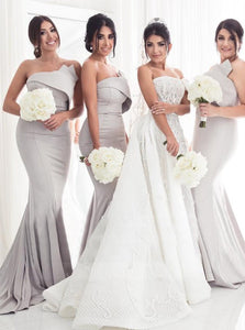 Gray Strapless Mermaid Long Satin Bridesmaid Dresses Prom Dresses