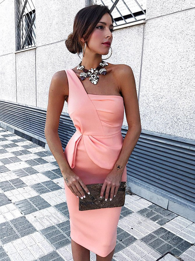 5134c87ad80 Pink Slim Line One Shoulder Knee Length Prom Dresses Homecoming Dresses -  NICEOO