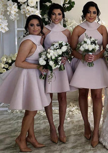 Unique Round Neck Sleeveless Open Back Bridesmaid Dresses