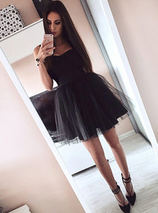 Black Sweetheart Strap Satin Mini Homecoming Dresses, A Line Cocktail Dresses - NICEOO