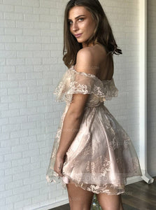 Cute Off Shoulder Sweetheart Mini Homecoming Dresses Cocktail Dresses - NICEOO