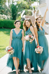 V Neck Pleated Teal Hi-lo Bridesmaid Dresses with Tulle Skirt