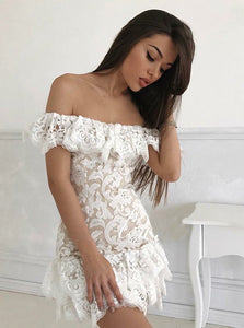 Cute White Off Shoulder Slim Line Mini Homecoming Dresses Cocktail Dresses - NICEOO