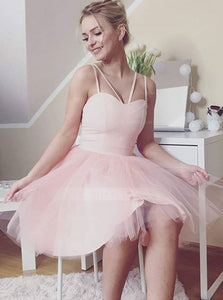 Simple Light Pink Spaghetti Strap Sweetheart Homecoming Dresses Cocktail Dresses