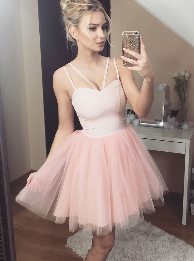 56d7d43897 Simple Light Pink Spaghetti Strap Sweetheart Homecoming Dresses Cocktail  Dresses