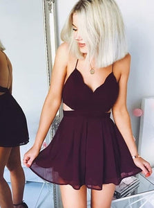 Purple Spaghetti Strap V Neck Open Back Homecoming Dresses Cocktail Dresses - NICEOO