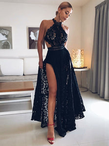 Black Halter Open Back Side Split Homecoming Dresses Cocktail Dresses - NICEOO