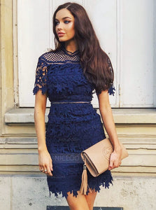 Slim Line Round Neck Short Sleeves Lace Mini Homecoming Dresses Cocktail Dresses