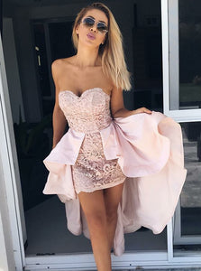 Unique Pale Pink Strapless Slim Line High Low Homecoming Dresses Cocktail Dresses