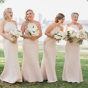 Sexy Blush Pink Halter Sleeveless Mermaid Lace Bridesmaid Dresses Evening Dresses - NICEOO