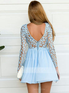 Pretty Blue Round Neck Long Sleeves Mini Homecoming Dresses Cocktail Dresses - NICEOO