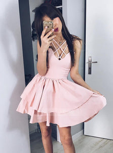 Cute Pale Pink Spaghetti Strap Satin Mini Homecoming Dresses Cocktail Dresses - NICEOO