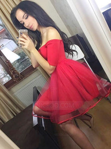 Red Off Shoulder Short Sleeves Mini Homecoming Dresses Cocktail Dresses - NICEOO