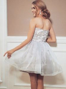 Gray A Line Strapless Satin Mini Homecoming Dresses Cocktail Dresses