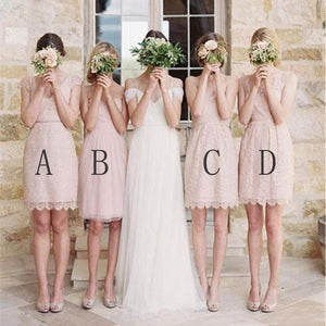 Cute Blush Pink Four Styles A Line Empire Waist Mini Lace Bridesmaid Dresses - NICEOO