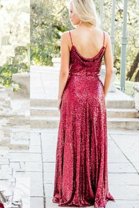 Sequin Burgundy Spaghetti Straps Floor-Length bridesmaids dresses