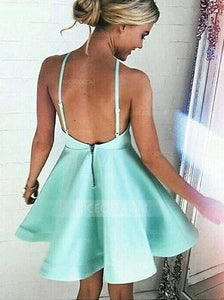 Simple Spaghetti Strap Mini Satin Homecoming Dresses Cocktail Dresses