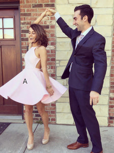 Pink Round Neck Open Back Short Homecoming Dresses Cocktail Dresses - NICEOO