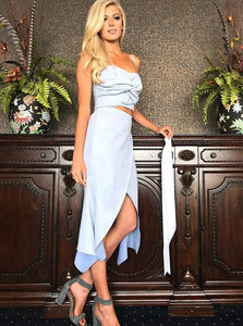 Pretty Light Blue Spaghetti Strap Two Pieces Slim Line Homecoming Dresses Cocktail Dresses