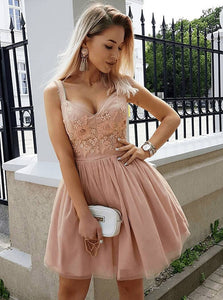 Cute A Line V Neck Strap Mini Tulle Homecoming Dresses Cocktail Dresses - NICEOO
