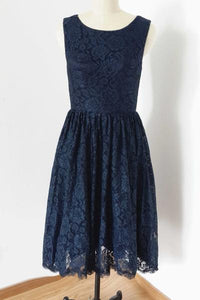 Navy Blue Lace Bridesmaid Dresses Sleeveless Short skirt
