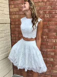 Simple White Two Pieces Sleeveless Lace Homecoming Dresses Cocktail Dresses