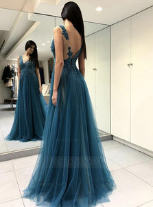 Blue Strap V Neck Open Back Side Split Prom Dresses Evening Dresses - NICEOO