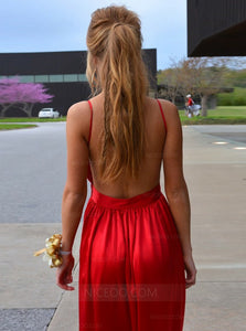 Red Spaghetti Strap Open Back Long Prom Dresses Evening Dresses - NICEOO