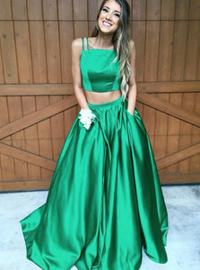 Green Two Pieces Spaghetti Strap Long Prom Dresses Evening Dresses