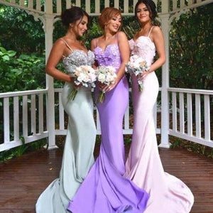Sexy Purple Spaghetti Strap Sweetheart Open Back Long Mermaid Satin Bridesmaid Dresses Evening Dresses - NICEOO