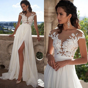 Cheap White/Ivory Lace Wedding Dress Beach Bridal Gown A-line Wedding Gown - NICEOO